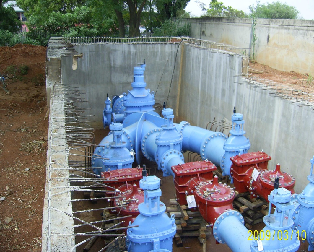 Bryanston Reservoirs – Inlet PRV Chamber – Pipework Installed